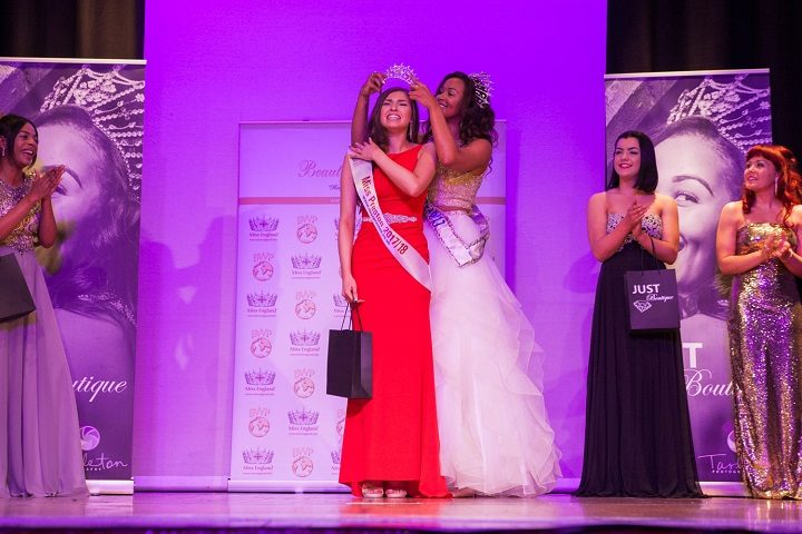 Niamh Taylor is crowned by Elizabeth Grant, the current Miss England Pic: Tarleton Photography