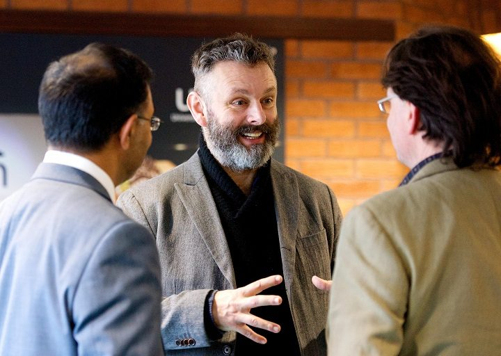 Michael Sheen visiting the University of Central Lancashire