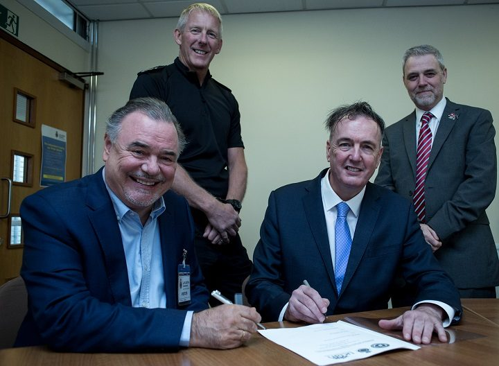 L – R: UCLan Pro-Chancellor and Chair of the University Board David Taylor, Deputy Chief Constable Andy Rhodes, Police and Crime Commissioner Clive Grunshaw and UCLan Vice- Chancellor Professor Mike Thomas