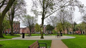 The new seating area in the Square Pic: Jim Beattie