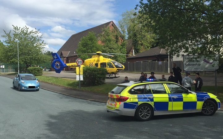 Air ambulance landed in Ingol Pic: Chief Superintendent Woods
