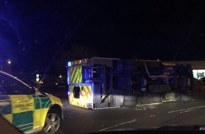 The overturned ambulance at Preston Docks Pic: Benjamin Wareing