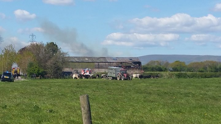 A view of the smoke from the barn fire Pic: Lancashire Fire and Rescue Service