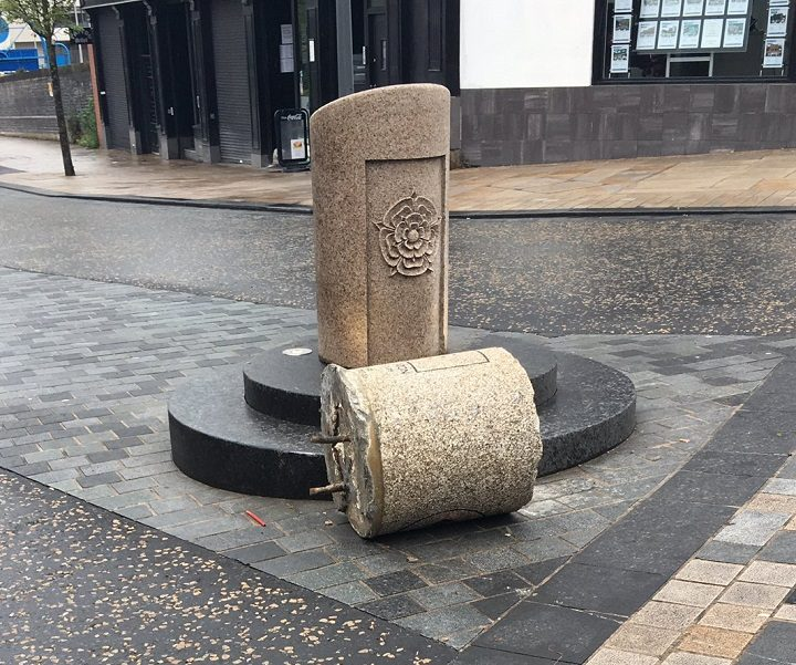 The bollard was left at the feet of the other bollard in Fishergate Pic: Mark Ormerod
