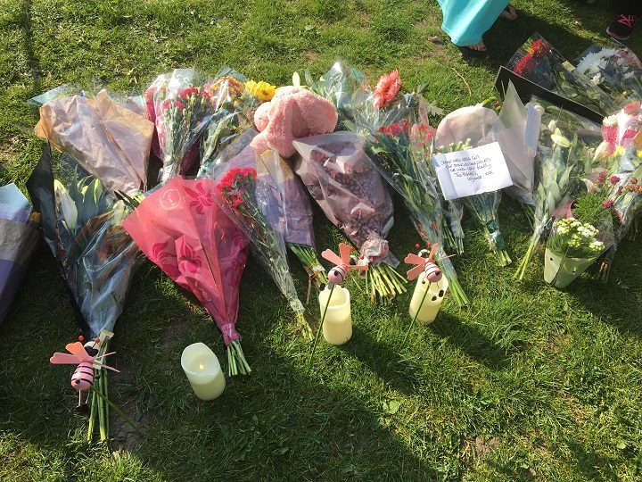 Flowers left at Worden Park by mourners