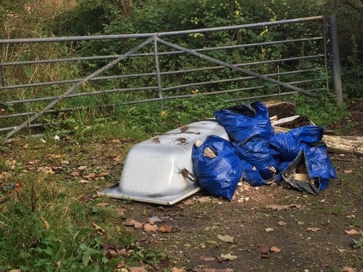 Another view of the fly-tipping