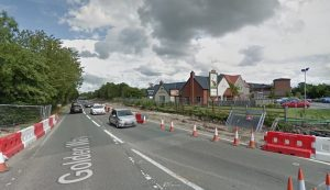 Traffic was biked up near the Brown Hare roundabout following the crash Pic: Google