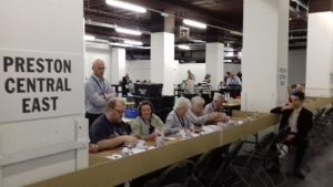 Counting in the Lancashire County Council elections in Preston