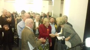 Liz Atkins centre is congratulated on her victory by returning officer Lorraine Norris