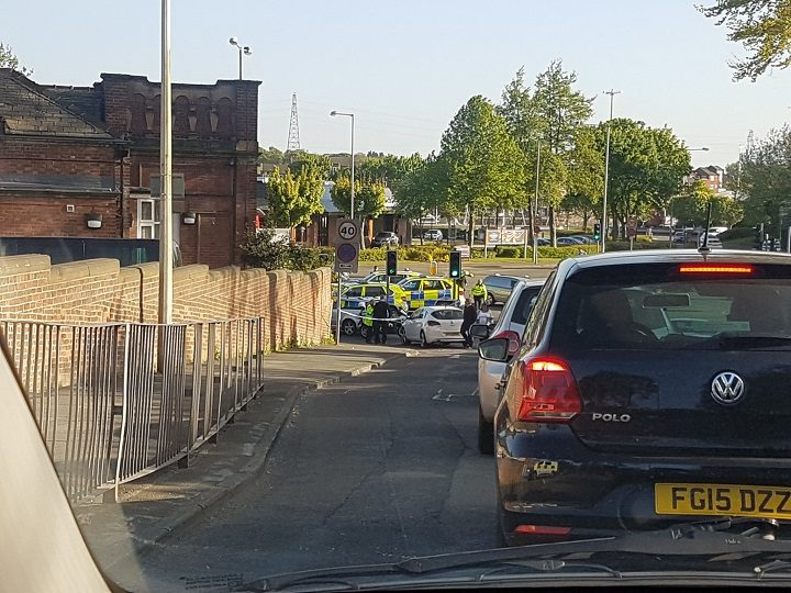 Police closed off Watery Lane while dealing with the incident Pic: Lee Giacopazzi
