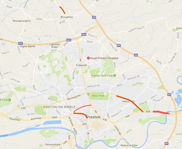 This is how the roadworks map of Preston looks