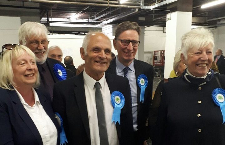 Ron Woollam, second from the right, was elected for Preston Rural East