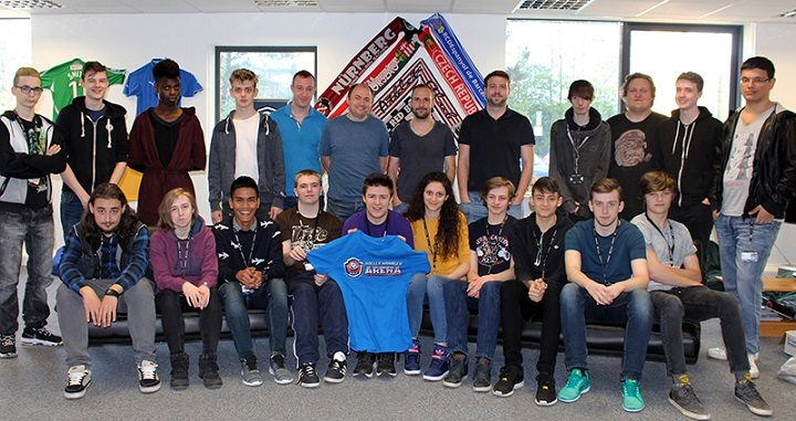 Pupils at Preston's College and staff at Soccer Manager