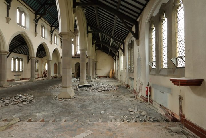 Inside the former Roman Catholic Church