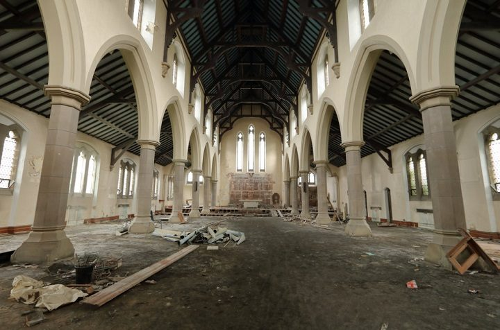 The former St Teresa's church, inside it Pic: scrappyNW