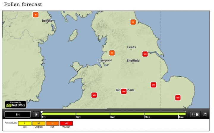 The Met Office has forecast Preston pollen to be at 'high' - the second highest rating.