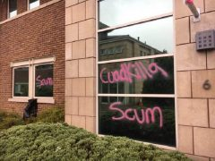 The graffiti on the windows of Cuadrilla's headquarters