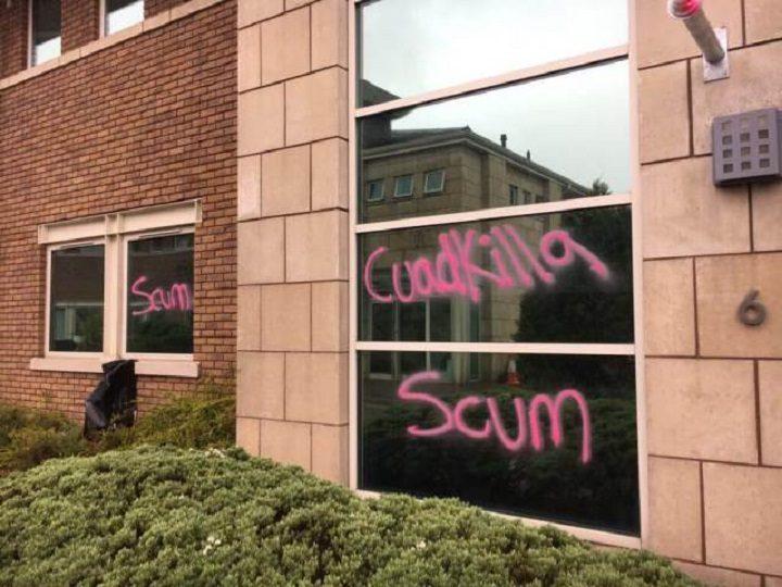The graffiti on the windows of Cuadrilla's headquarters