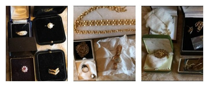Some of the items of jewellery taken in the theft