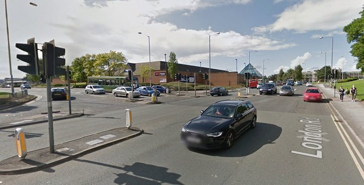 The lights in London Road at Queen Street and New Hall Lane have a fault Pic: Google