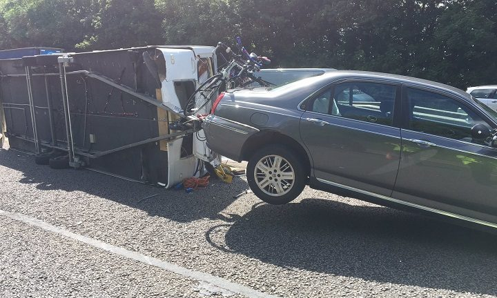 No one was hurt in the caravan crash Pic: LancsRoadPolice