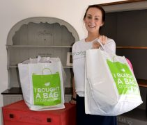 Store manager Rachel Hewitt with one of the £10 bags
