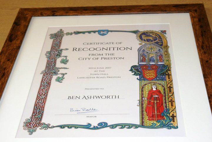 The certificate presented to Ben Ashworth by the city council