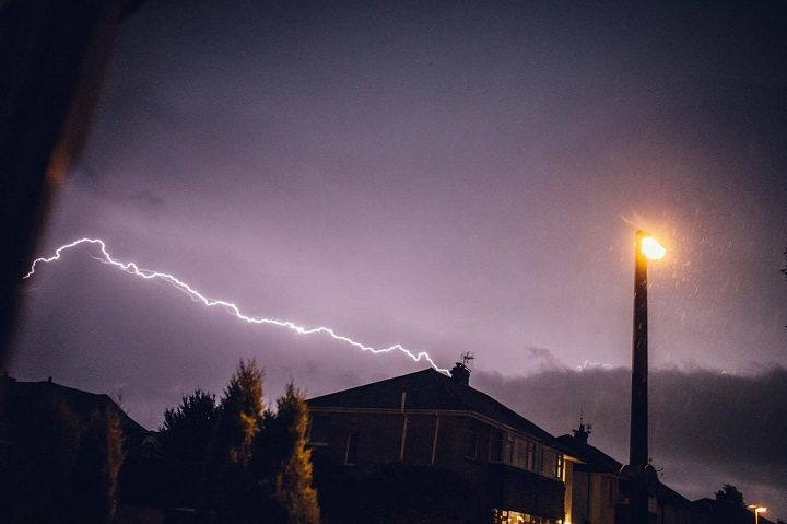 This appears to show a house being struck by lightning in Fulwood Pic: Anthony Ives