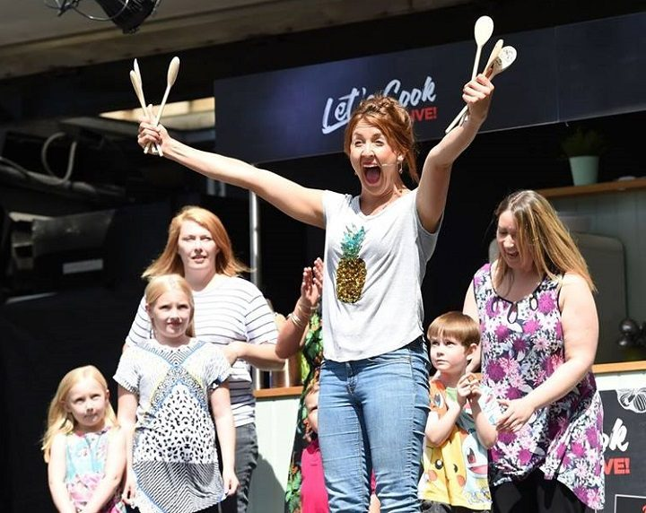 Katy Ashworth from CBeebies entertained families during Let's Cook Live