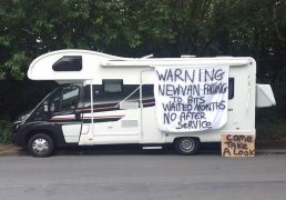The motor home parked in Chain Caul Way