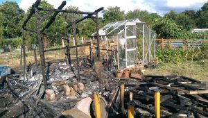 What remains of one of the sheds at the allotments