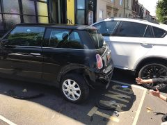 Damage to the Mini parked outside Tang KV