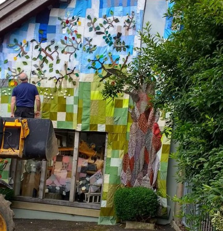The Moss cafe covered in knitting