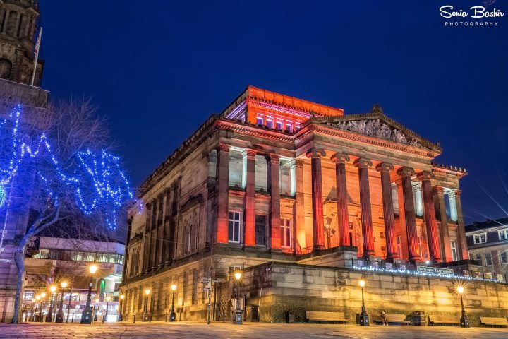 The Harris Museum and Art Gallery lit up at Christmas time
