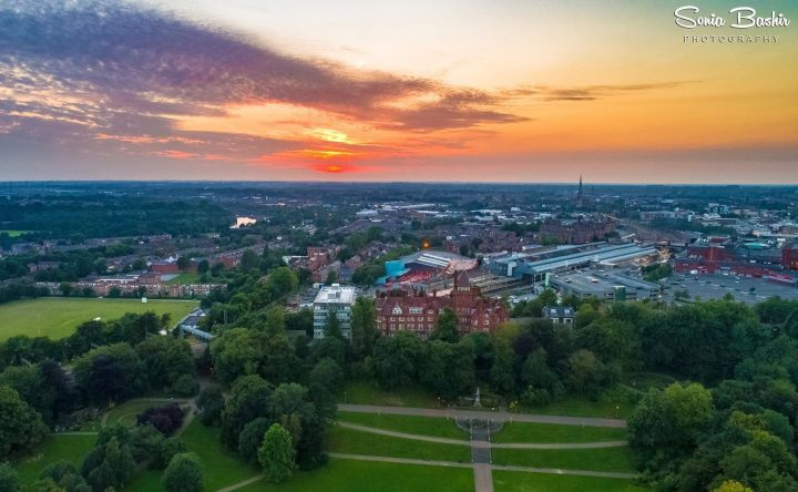Aerial footage of Avenham Park and Miller Park