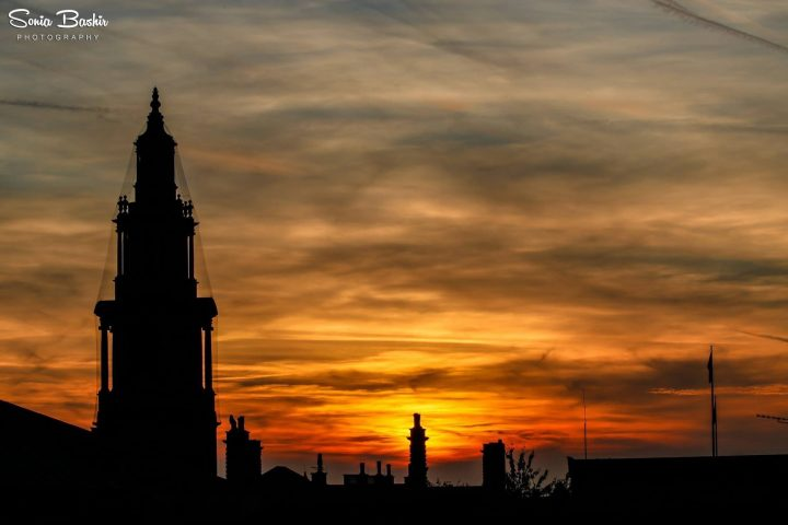 Sunset with Preston Town Hall in the foreground