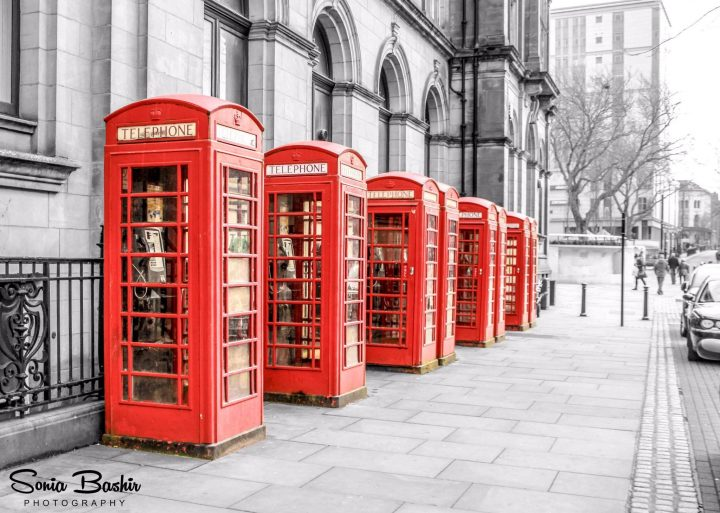 The city's iconic red telephone boxes