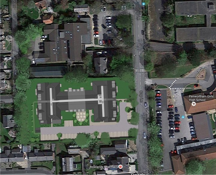 An aerial view showing the proposed retirement home