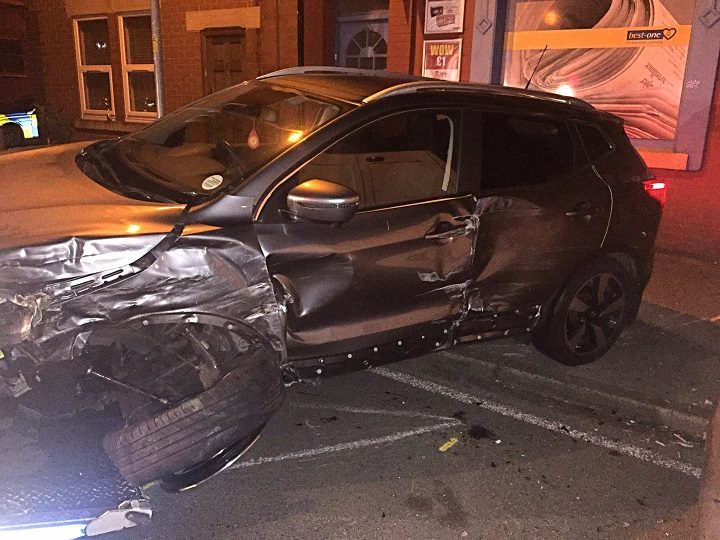Close up of the damage to the vehicle in Eldon Street Pic: LancsRoadPolice