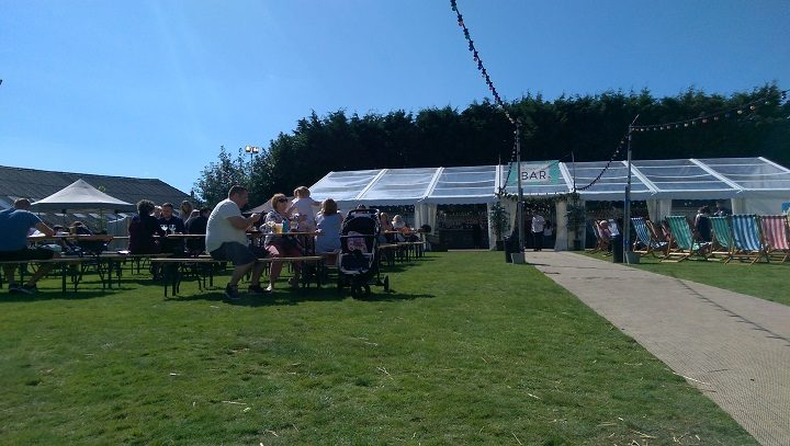 The marquee with outdoor seating at the Plungington Gin Festival