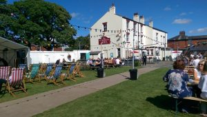 The bowling green and beer garden hosted the festival at the Plungington