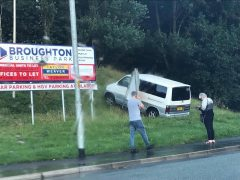 The vehicle came to rest near the old Broughton Printers site Pic: Arj