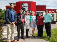 L-R Muddassir Shah employability support coordinator, Phil Burt restaurant manager at KFC Portway, Pauline Hughes, Tracey Jones hospitality assessor, new recruit Siobhan Palmer and Gary Mather