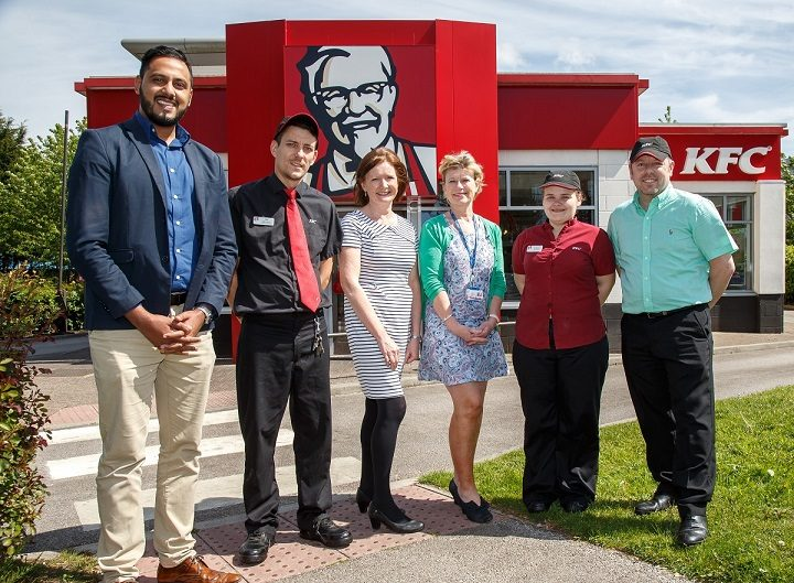 L-R Muddassir Shah employability support coordinator, Phil Burt restaurant manager at KFC Portway, Pauline Hughes, Tracey Jones hospitality assessor, new recruit Siobhan Palmer and Gary Mather