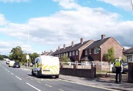 A police van in Longridge Road