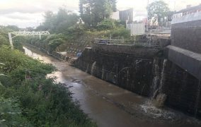 The scene at Moses Gate when the water main burst Pic: Great North Rail Project
