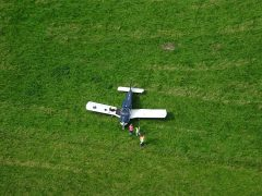 Aerial view of the light aircraft in the field Pic: Lancashire Fire and Rescue Service