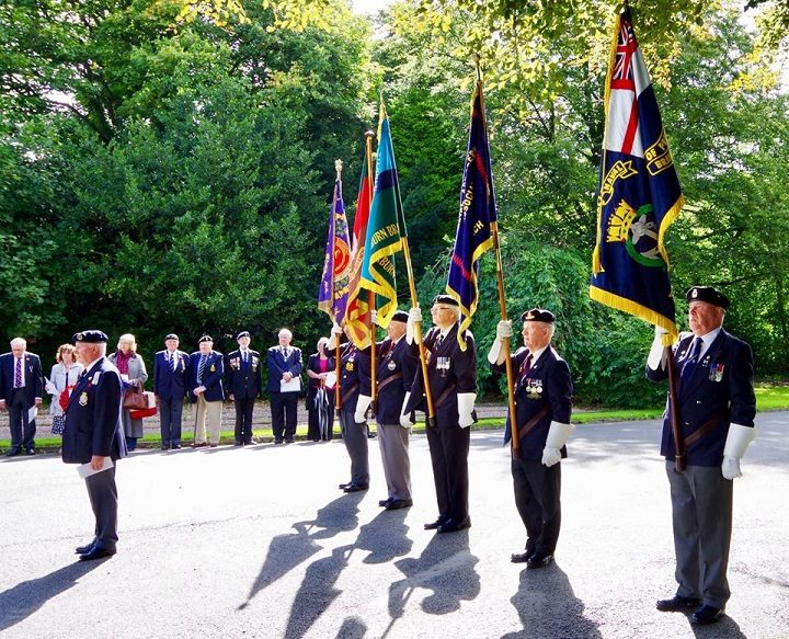 The veterans stand to attention during the service Pic: John Duckworth