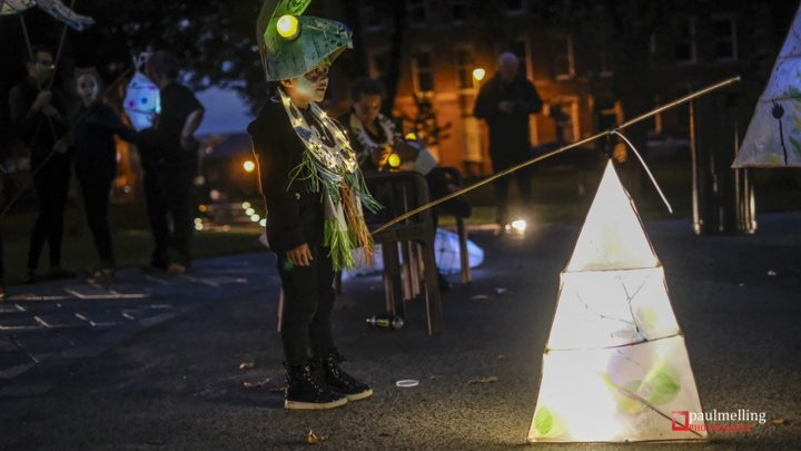 One of the children involved in the torchlight procession