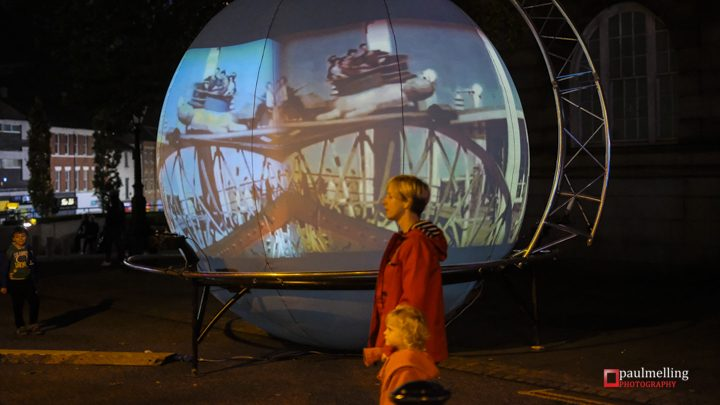The giant globe took your picture and projected it onto all kinds of landscapes